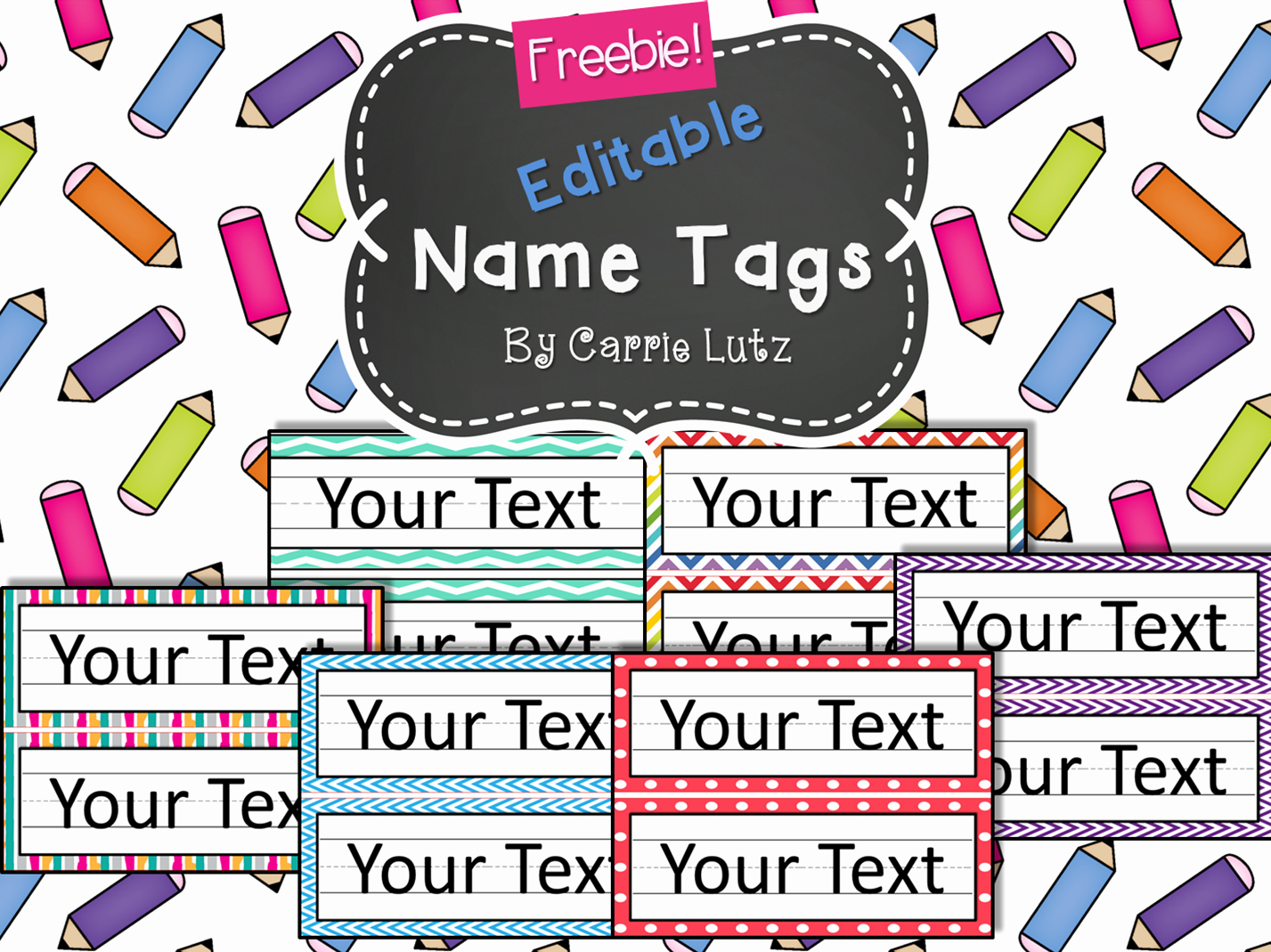 Free Printable Name Tags for Preschoolers Unique Free Editable Chevron Dots or Rainbow Simple Name