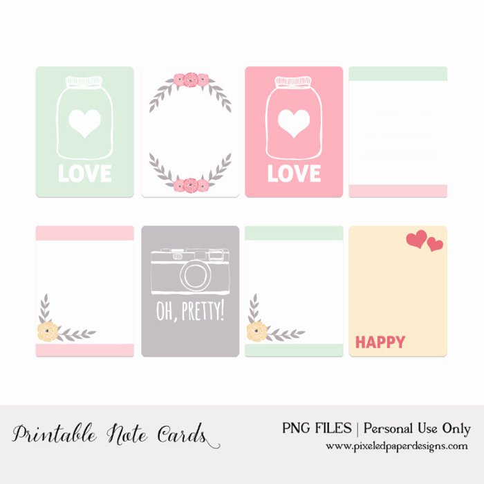 Free Printable Note Card Template Fresh 50 Free Printable Valentine S Day Project Life Cards