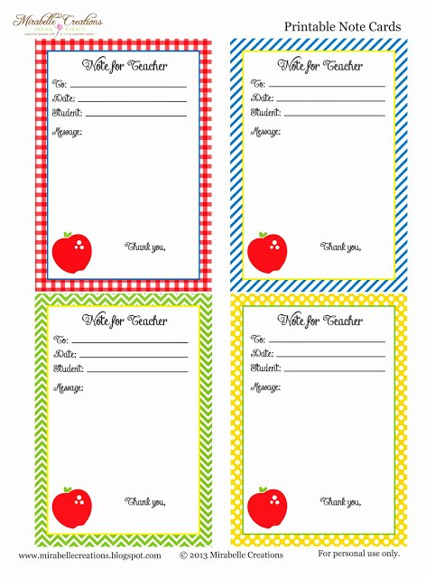 Free Printable Note Card Template Luxury Back to School Free Printable Note for Teacher Cards