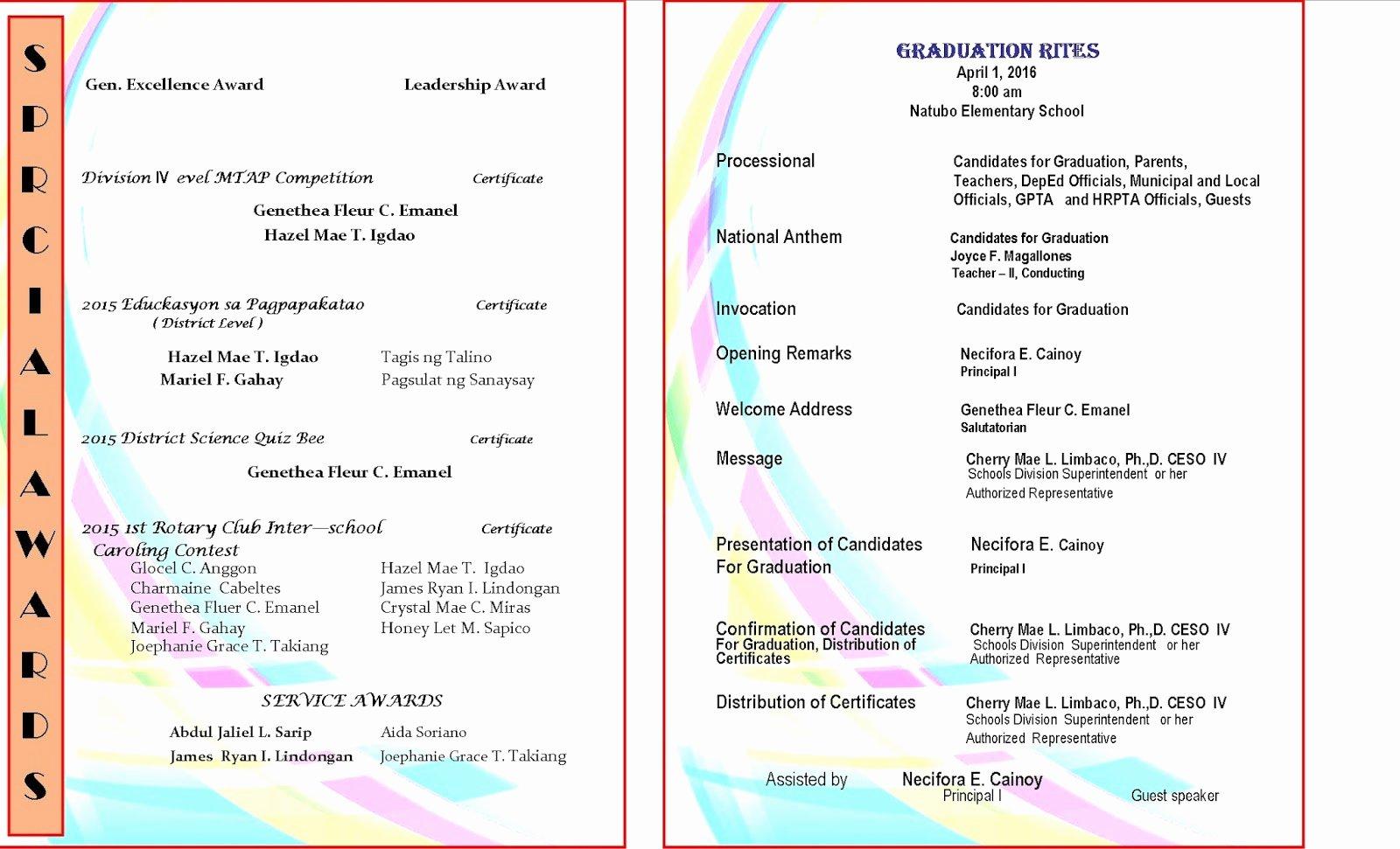 Free Printable Preschool Graduation Program Templates Beautiful 2015 2016 Graduation Program New Template Deped Lp S