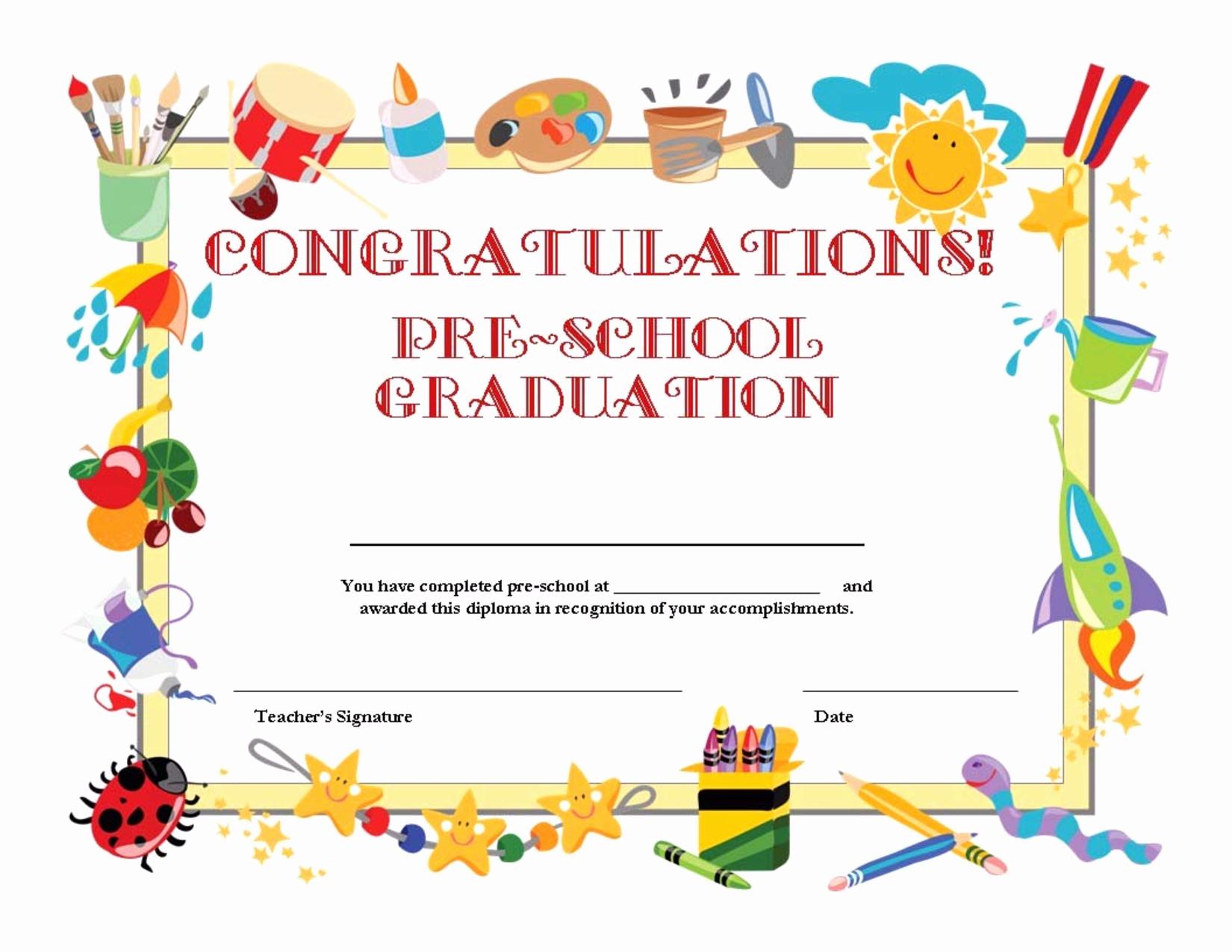 Free Printable Preschool Graduation Program Templates Elegant Templates Clipart School Certificate Pencil and In Color