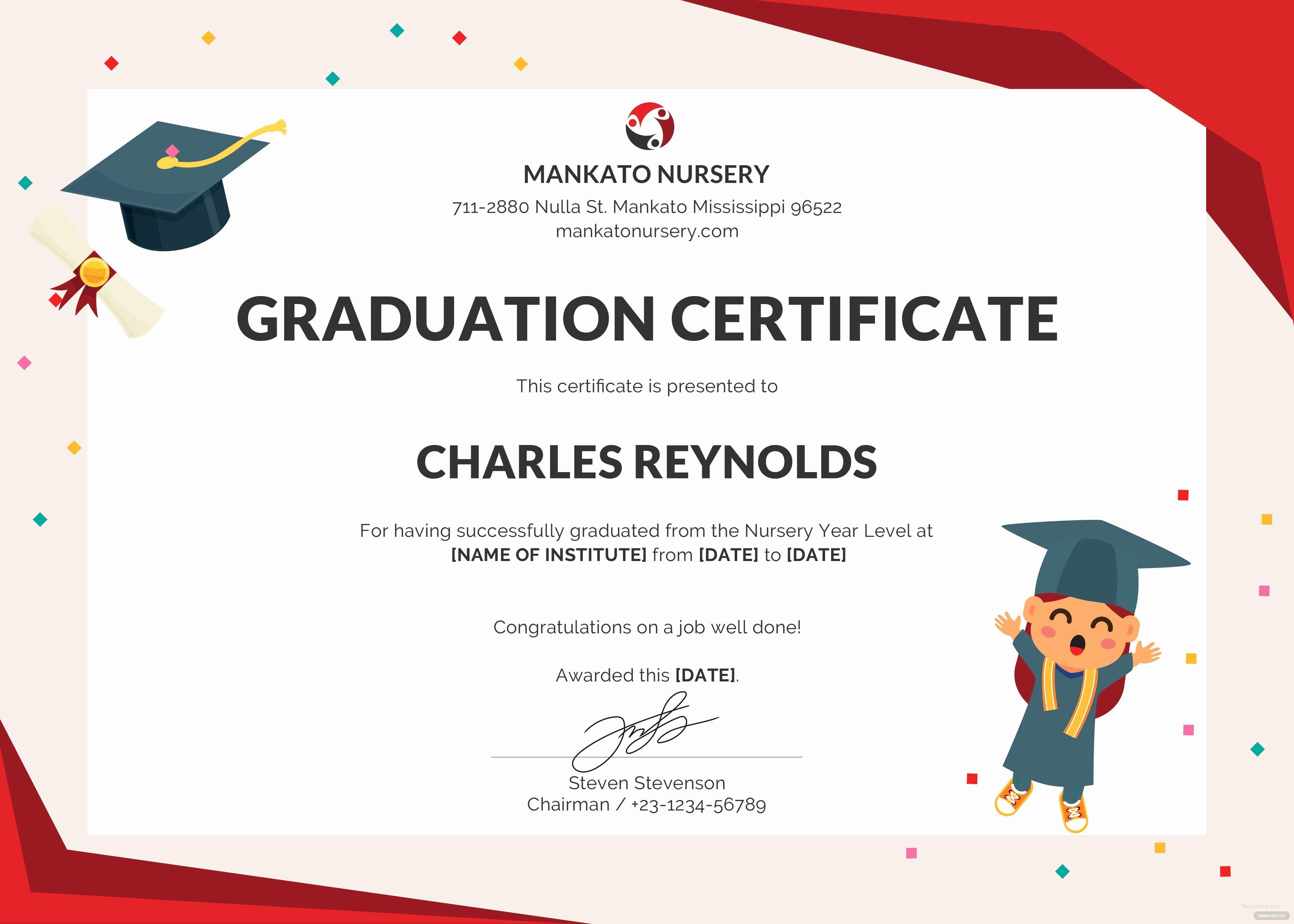 Free Printable Preschool Graduation Program Templates Lovely Free Nursery Graduation Certificate Template In Psd Ms