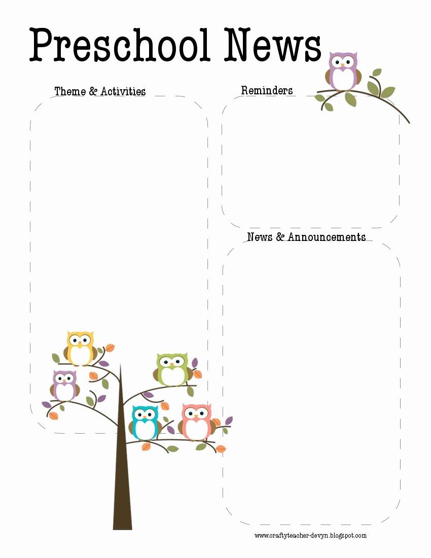 Free Printable Preschool Newsletter Templates Awesome Preschool Owl Newsletter Template