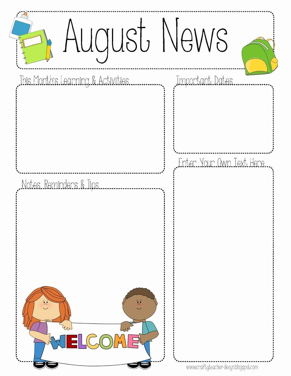 Free Printable Preschool Newsletter Templates Best Of Free Teacher Newsletter Templates Printable