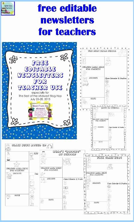 Free Printable Preschool Newsletter Templates Elegant Editable Newsletters for Teachers Five Templates Free Pdf