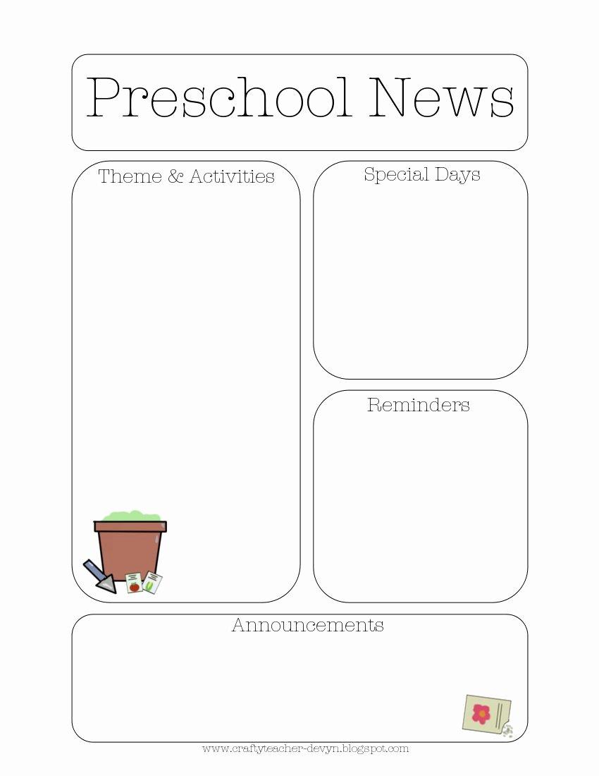 Free Printable Preschool Newsletter Templates Elegant Newsletter Templates