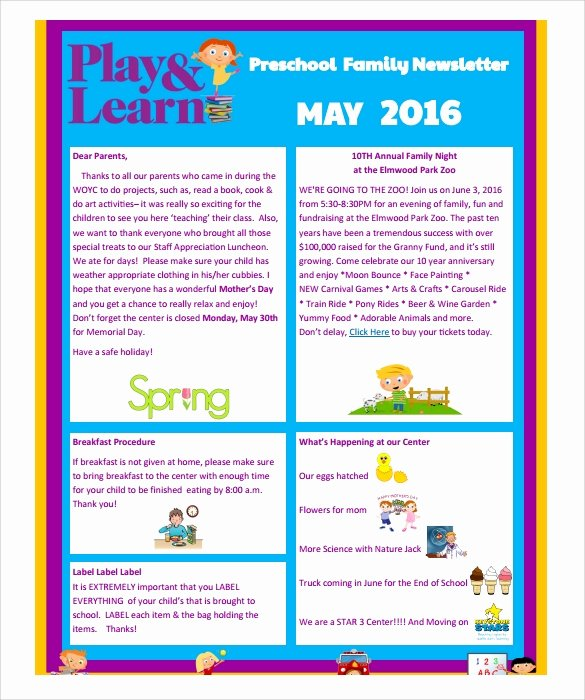 Free Printable Preschool Newsletter Templates Elegant Sample Preschool Newsletter 8 Free Download for Word Pdf