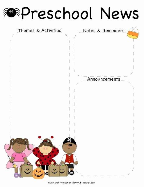 Free Printable Preschool Newsletter Templates Fresh October Halloween Preschool Newsletter Template