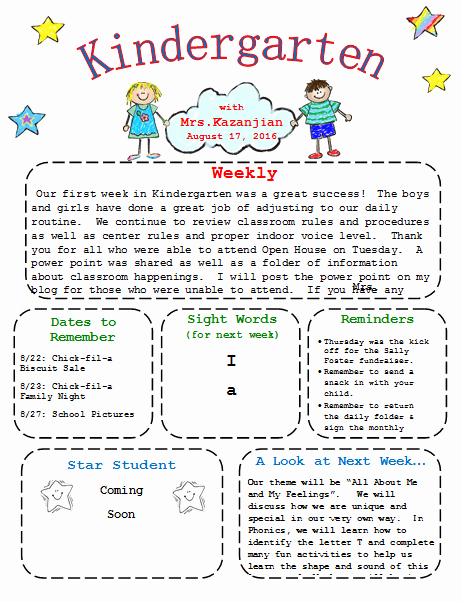Free Printable Preschool Newsletter Templates Inspirational Kindergarten Newsletter Template 3 Free Newsletters