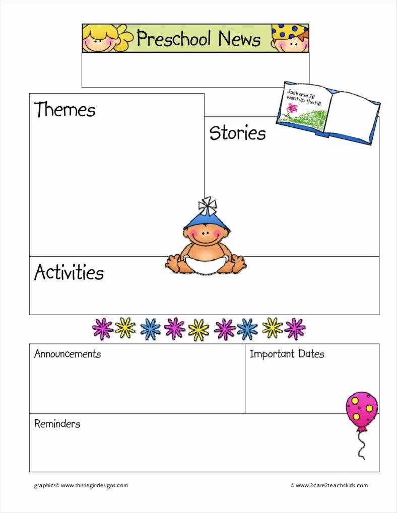 Free Printable Preschool Newsletter Templates Lovely 9 Kindergarten Newsletter Templates Free Samples
