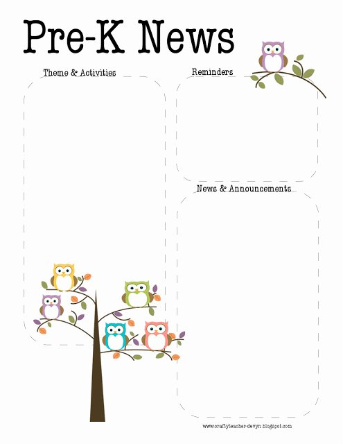 Free Printable Preschool Newsletter Templates Lovely the Crafty Teacher Pre K Owl Newsletter Template
