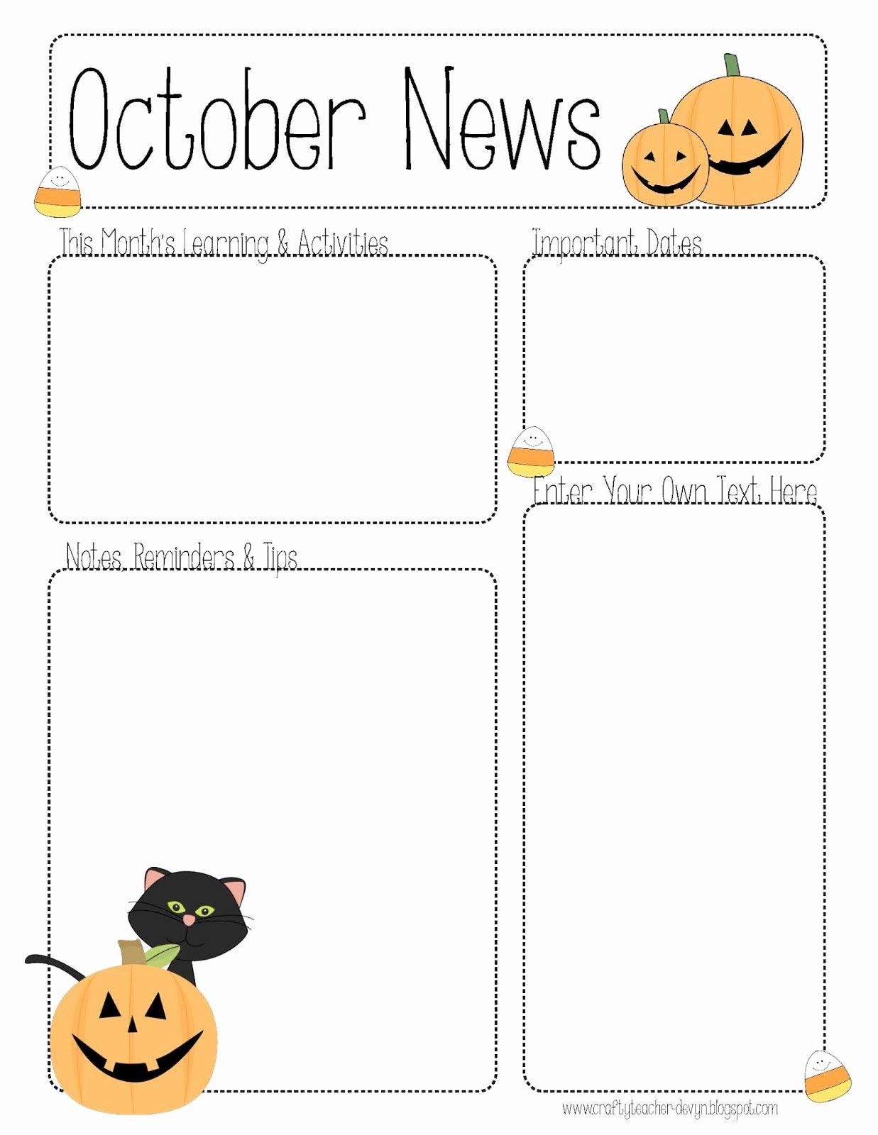 Free Printable Preschool Newsletter Templates Luxury October Newsletter Template