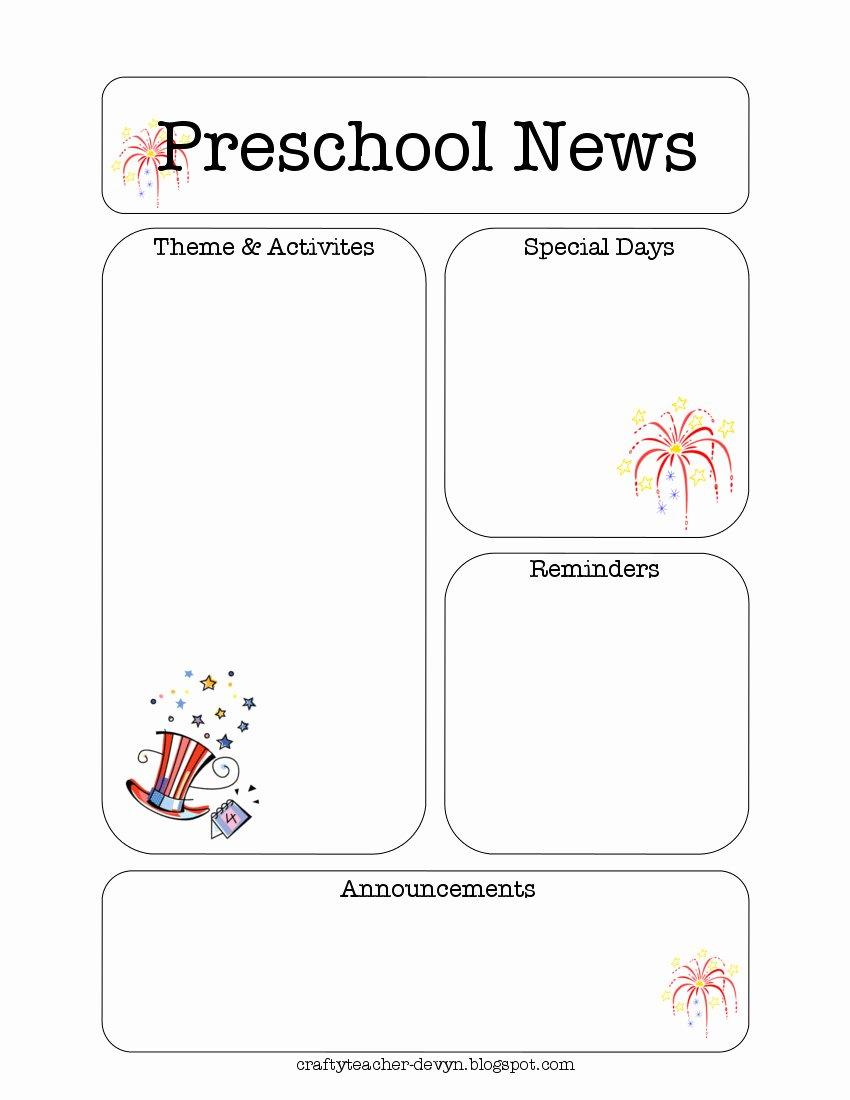 Free Printable Preschool Newsletter Templates New July Preschool Newsletter Template