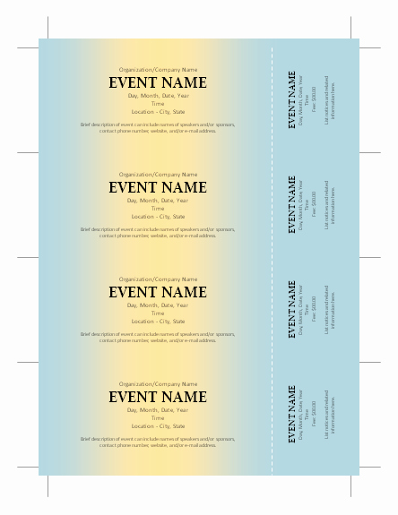 Free Printable Raffle Tickets with Stubs Lovely Free Ticket Template …
