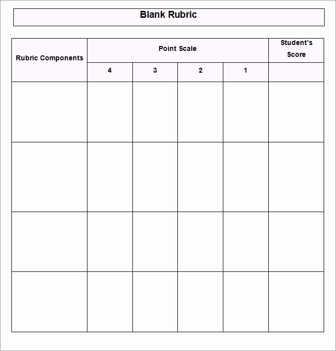 Free Printable Rubric Template Best Of Blank Grading & Project Rubric Template Word Doc
