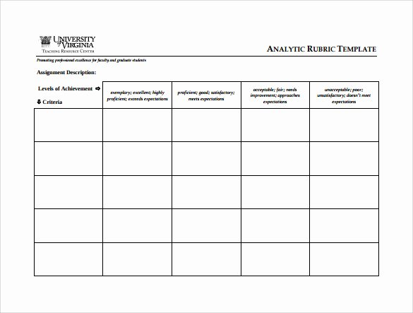 Free Printable Rubric Template Fresh Blank Rubric Template