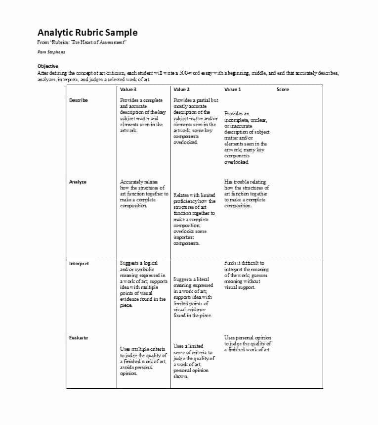 Free Printable Rubric Template Inspirational 46 Editable Rubric Templates Word format Template Lab
