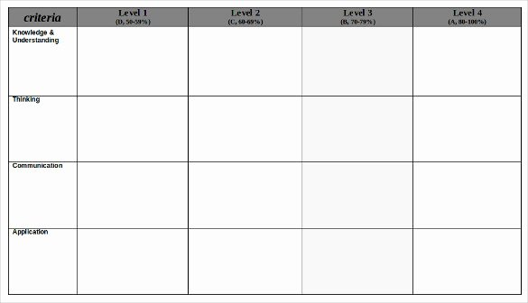 Free Printable Rubric Template Inspirational Blank Rubric Template – 6 Free Printable Pdf Word Excel