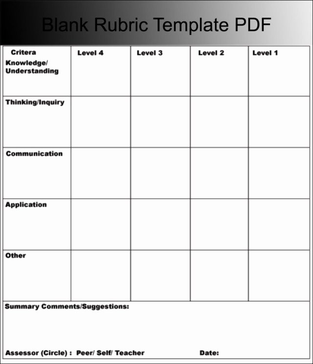 Free Printable Rubric Template Lovely Blank Rubric Template Free Download 40 High School