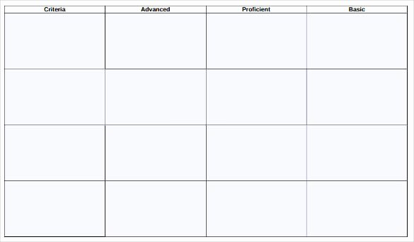 Free Printable Rubric Template Unique Blank Rubric Template – 6 Free Printable Pdf Word Excel