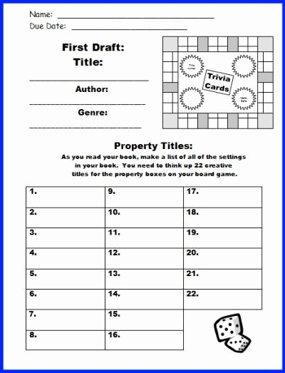 Free Printable Rubric Template Unique Game Board Book Report Project Templates Worksheets