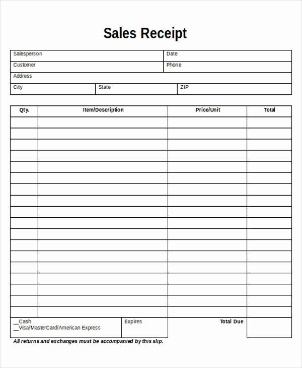 Free Printable Sales Receipt Best Of Printable Sales Receipt Sample 7 Examples In Word Pdf