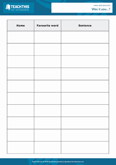 Free Printable Snack Sign Up Sheet Luxury Likes Dislikes Esl Activities Worksheets Games