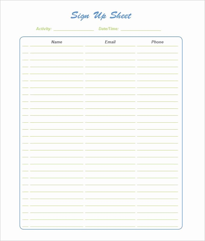 Free Printable Snack Sign Up Sheet Unique 21 Sign Up Sheets Free Word Excel & Pdf Documents