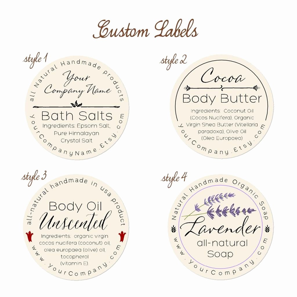 Free Printable soap Label Templates Beautiful Predesigned Personalized Labels Bath and Body 60 Pk