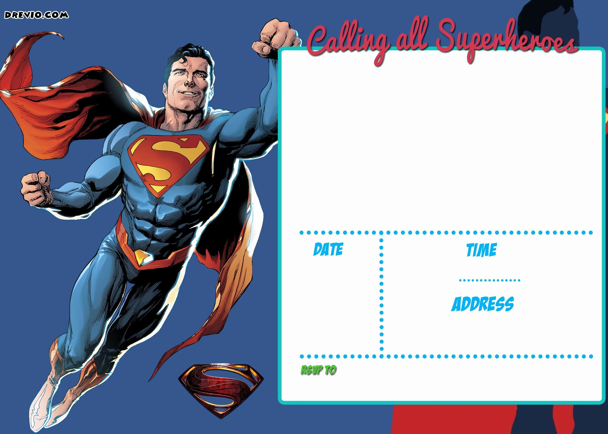 Free Printable Superman Template Lovely Free Printable Justice League Invitation Templates – Party
