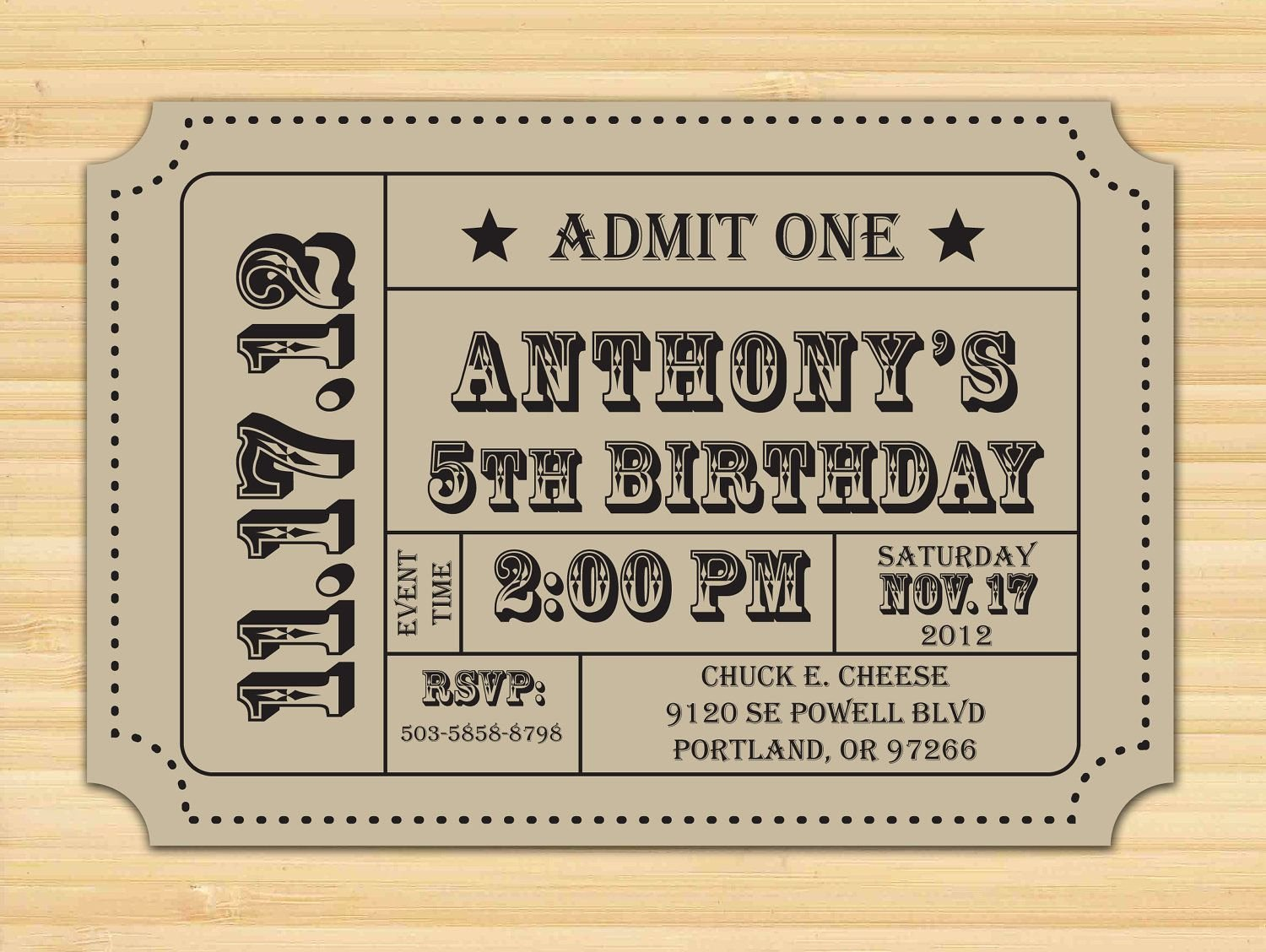 Free Printable Ticket Stub Template Elegant Carnival Ticket Invitation Ticket Stub Editable