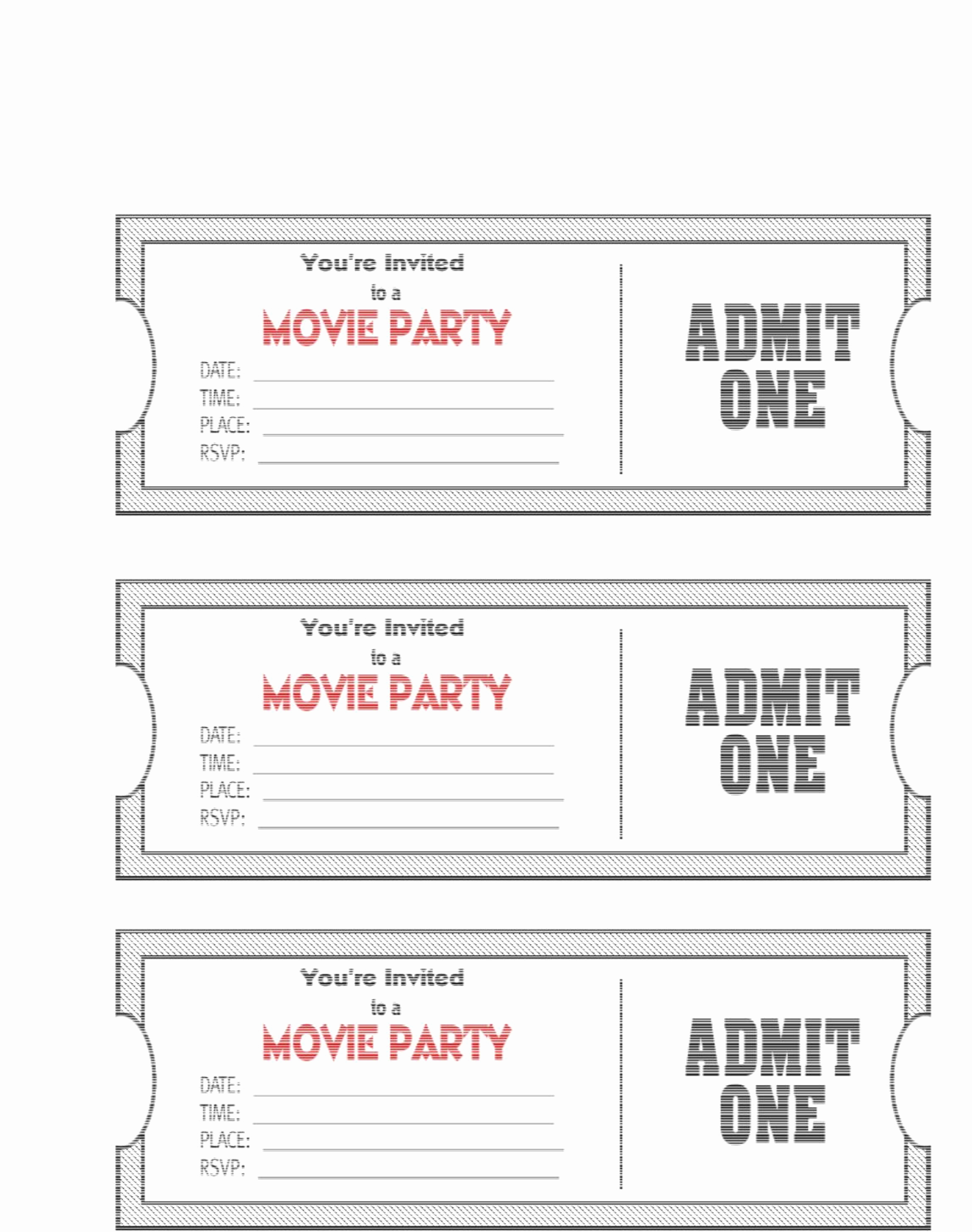 Free Printable Ticket Stub Template New Movie Ticket Template
