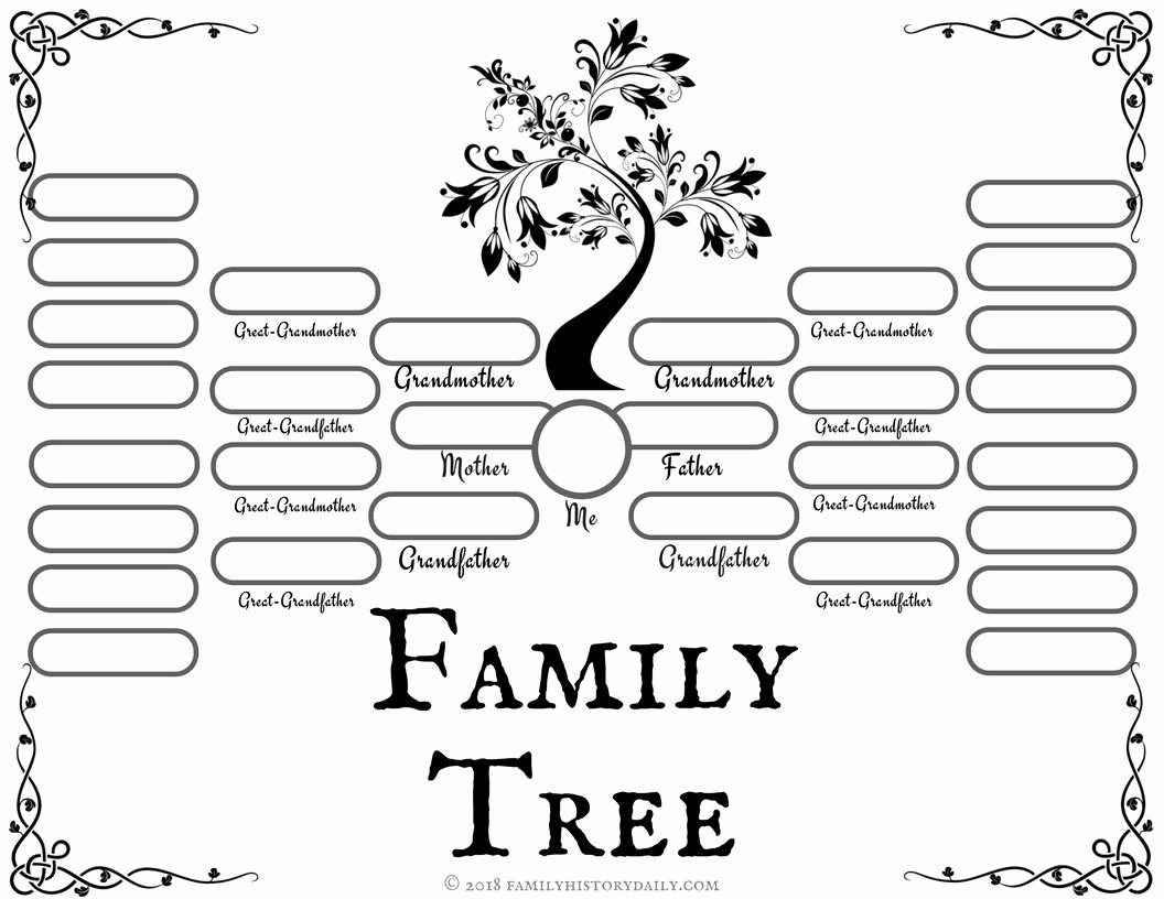 Free Printable Tree Template Fresh 4 Free Family Tree Templates for Genealogy Craft or