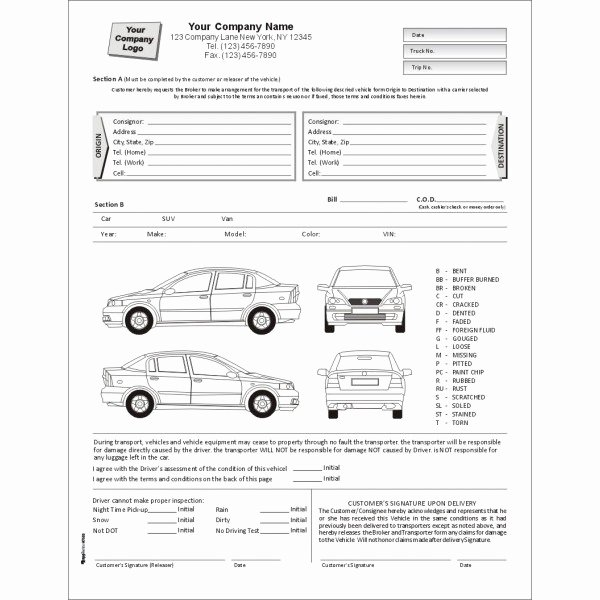 Free Printable Vehicle Condition Report Template Beautiful Vehicle Inspection form Template