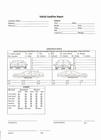 Free Printable Vehicle Condition Report Template Lovely 5 Vehicle Condition Reports Word Excel Templates
