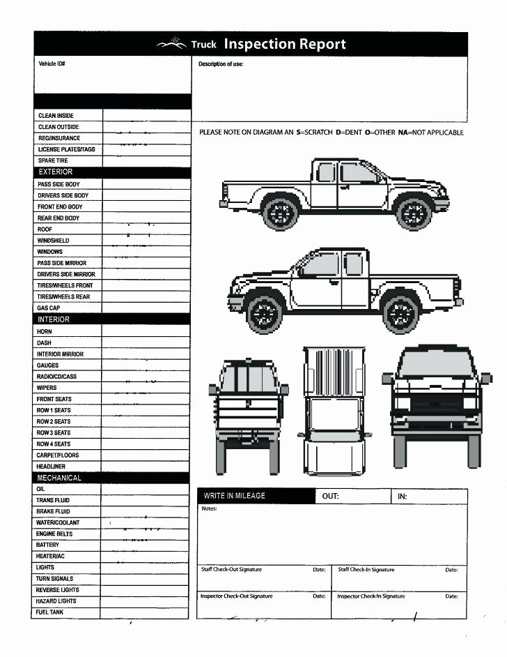 Free Printable Vehicle Condition Report Template Luxury Free Vehicle Inspection form Template – socbran
