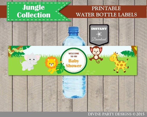 Free Printable Water Bottle Labels for Baby Shower Awesome Instant Download Jungle Animal Baby Shower Water Bottle Labels