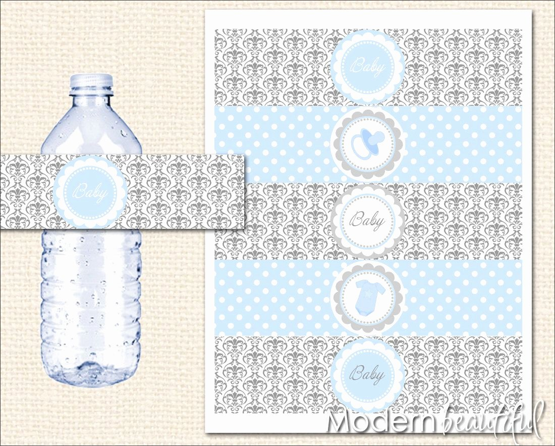 Free Printable Water Bottle Labels for Baby Shower Beautiful Baby Shower Printable Water Bottle Labels Grey and Blue