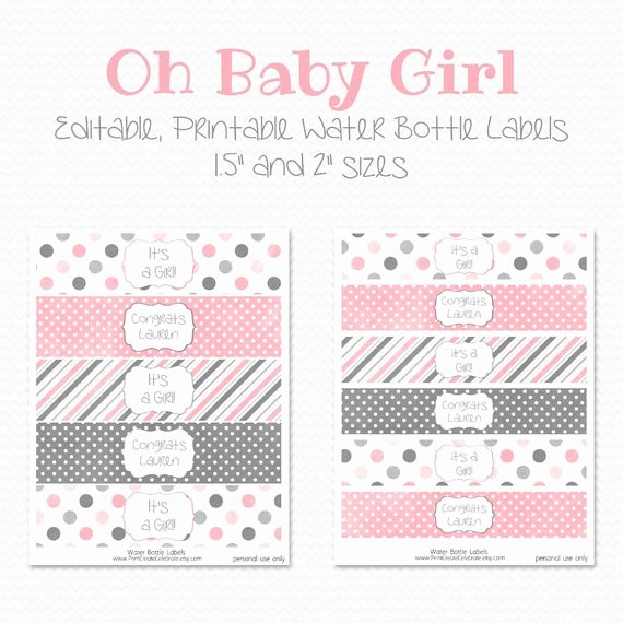Free Printable Water Bottle Labels for Baby Shower Best Of Items Similar to Water Bottle Labels Pink and Grey Girl