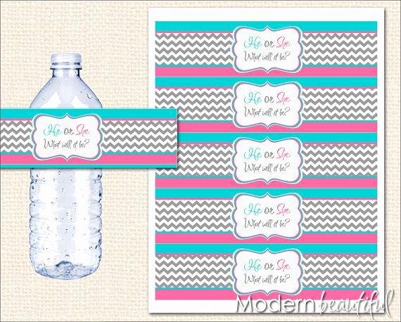 Free Printable Water Bottle Labels for Baby Shower Elegant Instant Download Pink and Blue Gender Reveal Water Bottle
