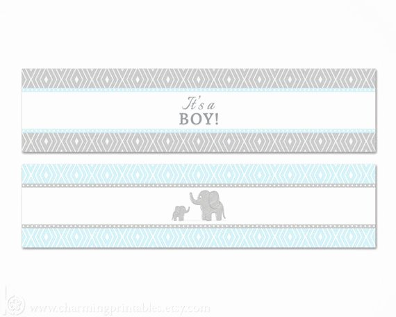 Free Printable Water Bottle Labels for Baby Shower Inspirational Blue Elephant Water Bottle Labels Printable Its A Boy