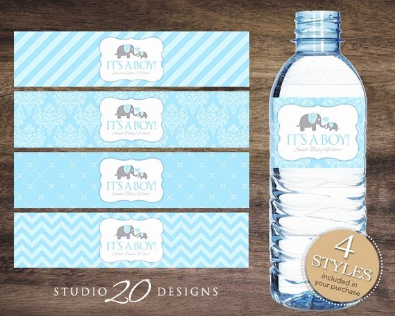 Free Printable Water Bottle Labels for Baby Shower Inspirational Instant Download Blue Elephant Water Bottle Labels Printable