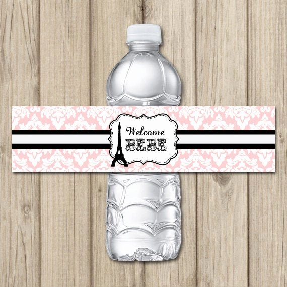 Free Printable Water Bottle Labels for Baby Shower Lovely Paris theme Baby Shower Printable Water Bottle Labels