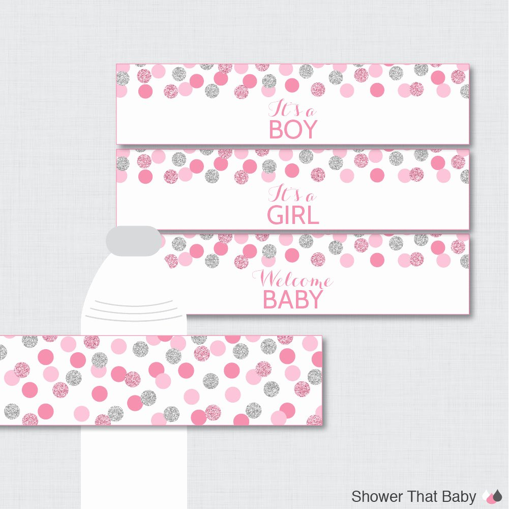 Free Printable Water Bottle Labels for Baby Shower Lovely Pink and Gray Water Bottle Labels Baby Shower Printable