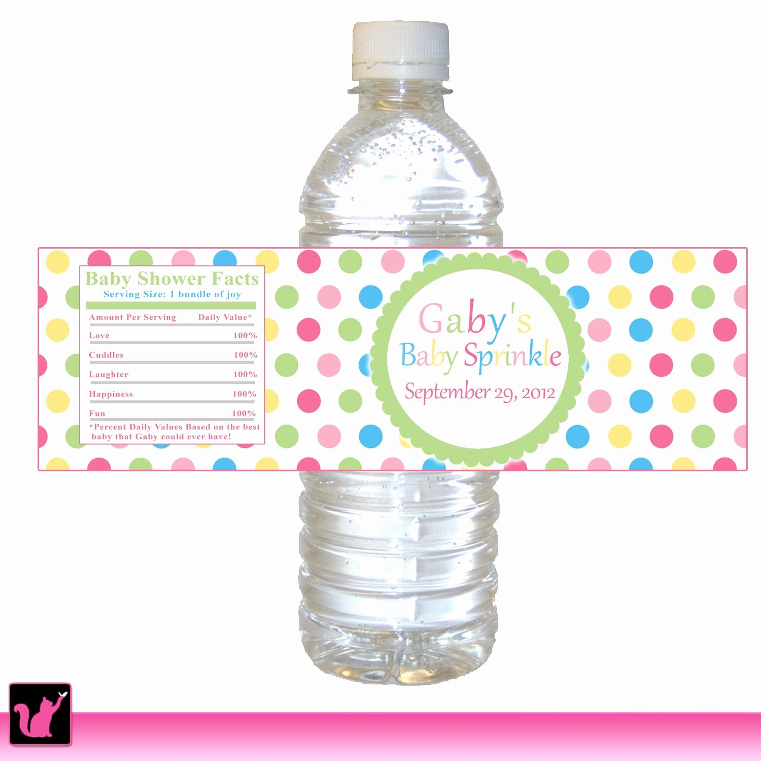 Free Printable Water Bottle Labels for Baby Shower Lovely Polka Dots Water Bottle Label Kids Birthday Party Baby Girl