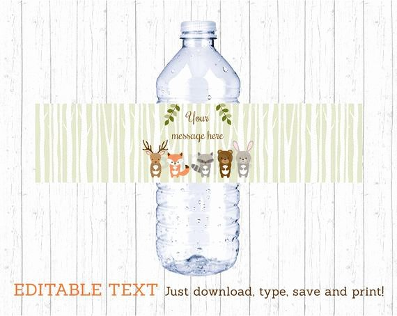 Free Printable Water Bottle Labels for Baby Shower Lovely Woodland forest Animal Water Bottle Wraps Water Bottle