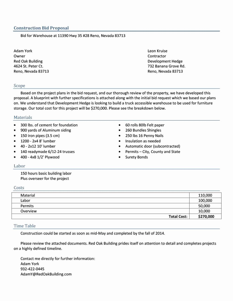 Free Proposal Templates for Word New 31 Construction Proposal Template & Construction Bid forms