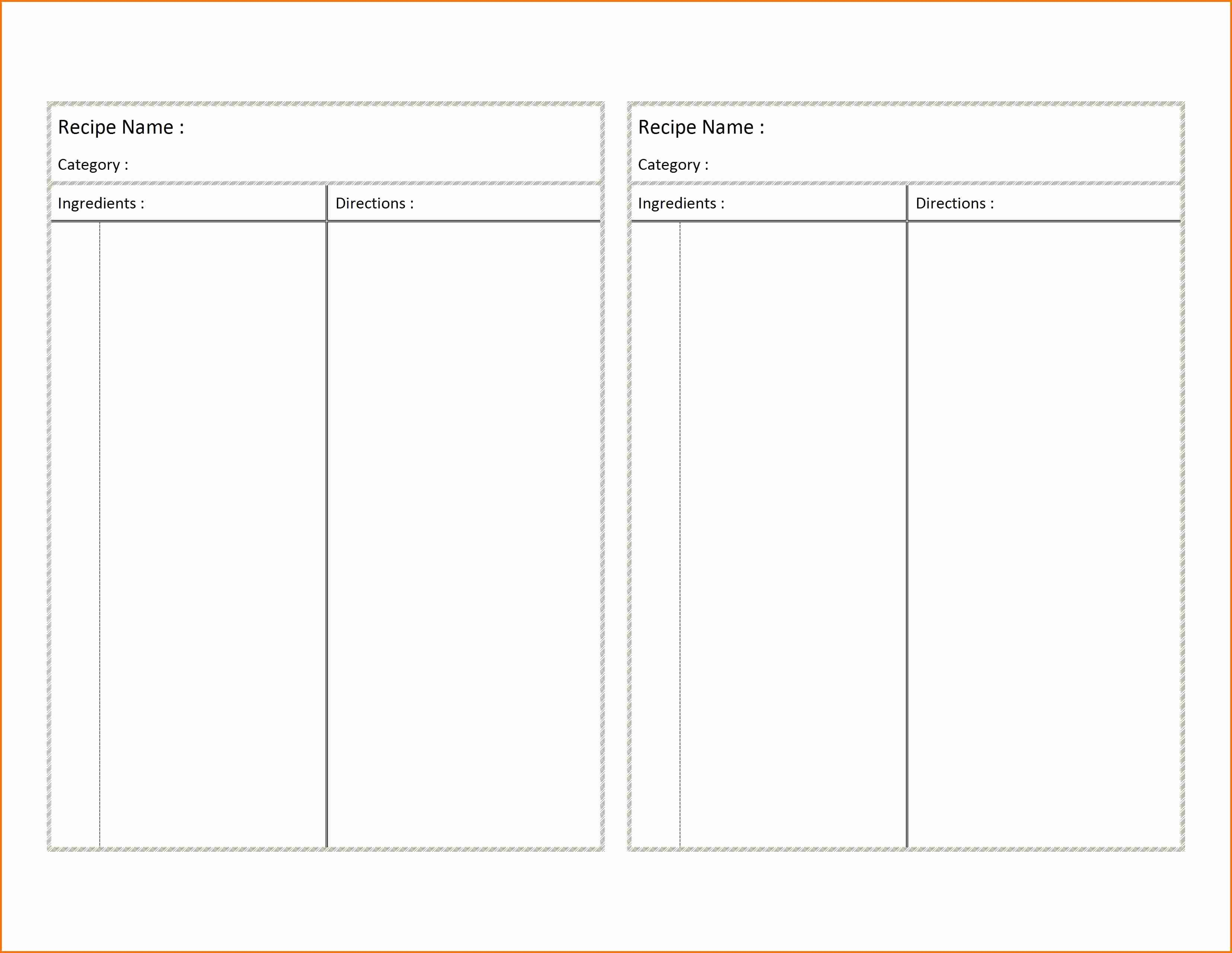 Free Recipe Templates for Microsoft Word Elegant Recipe Card Template for Word