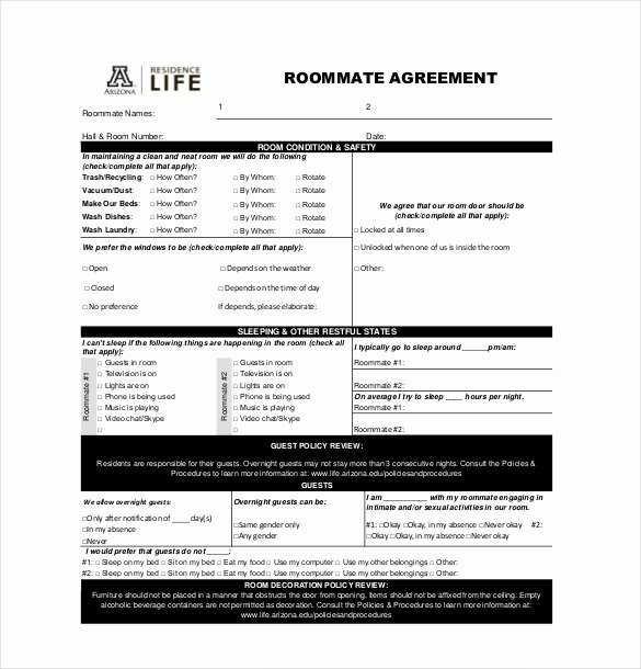 Free Roommate Agreement Template Awesome 17 Roommate Agreement Templates – Free Word Pdf format
