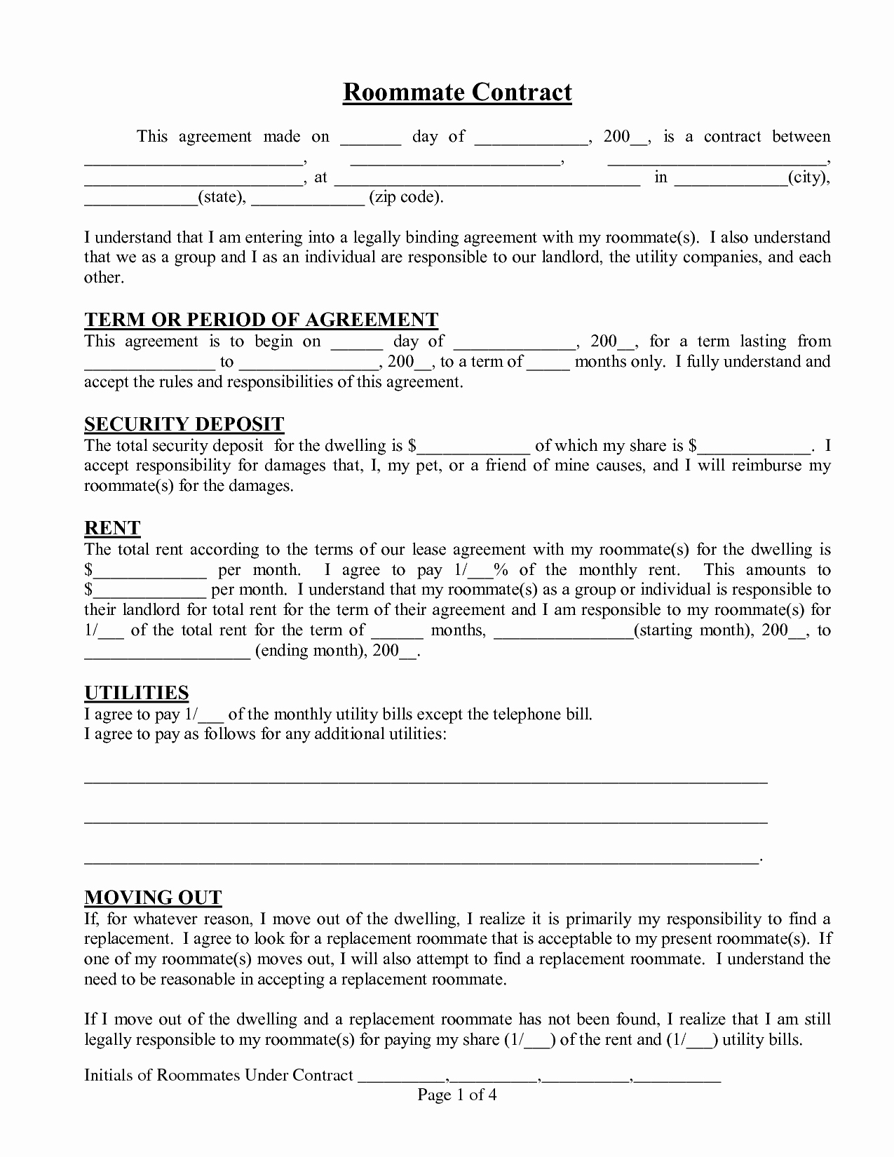 Free Roommate Agreement Template Awesome Roommate Agreement Template
